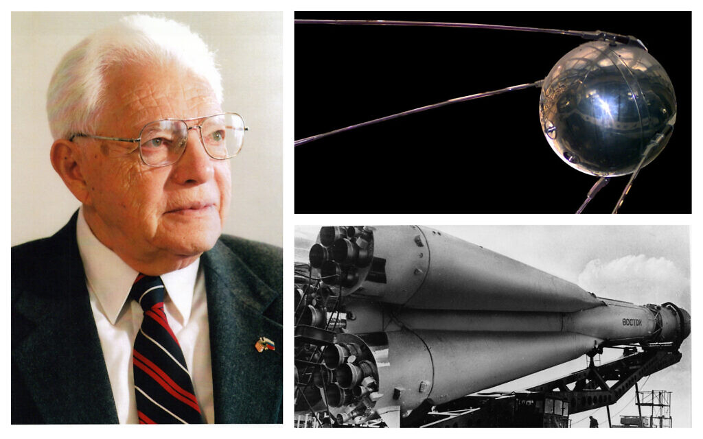 Left: Jewish-Soviet engineer Anatoliy Davidovich Daron was responsible for the rocket engine that put Sputnik I into space. (Courtesy); Top right: A replica of the Sputnik I satellite in the National Air and Space Museum in Washington, DC. (Public domain); Bottom right: This undated picture shows a Russian Vostok rocket on its launcher, the same type which propelled Yuri Gagarin to be the first human in space on April 12, 1961. (AP Photo/File)