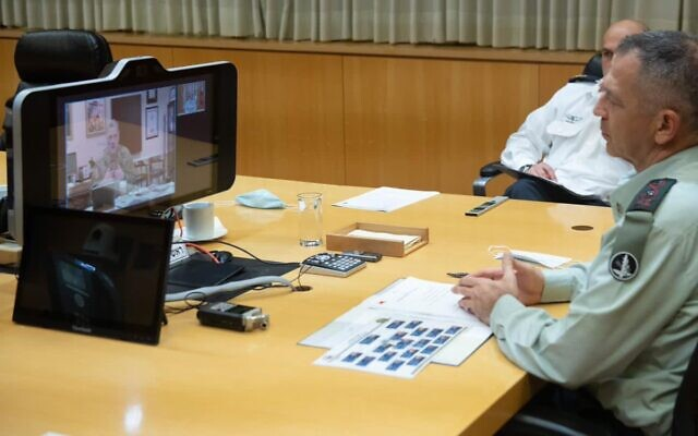 IDF Chief of Staff Aviv Kohavi (R) holds a virtual meeting with his American counterpart Gen. Mark Milley on November 15, 2020. (IDF)