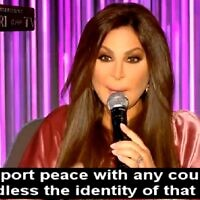 Elissar Zakaria Khoury, known popularly by her stage name Elissa, in an interview with MTV Lebanon, November 12, 2020. (Screengrab: Memri TV)