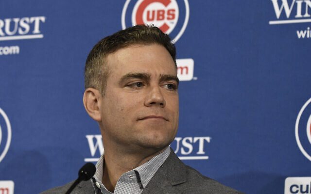 Theo Epstein at a press conference at Wrigley Field in Chicago, October 28, 2019. (David Banks/Getty Images)