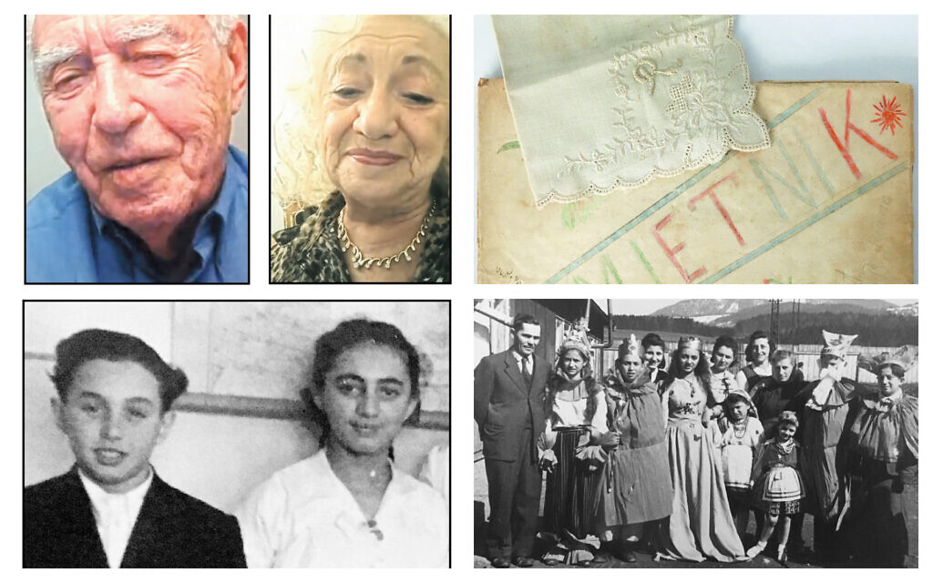 At left: Israel 'Srulik' Segalovitch, now Ira Segalewitz and Regina Puter, now Ruth Brandspiegel, in screenshots from a Zoom reunion, top, and together as teenagers, bottom. (Zoom/ Collection of Ira Segalewitz); Top right: A handkerchief from Ruth that Ira kept, along with his DP camp school memory book. (Photo by Scott Segalewitz); Bottom right: Purim in the Hallein DP camp, 1950. Ira is 3rd from left,  Ruth is center. (Collection of Ira Segalewitz)