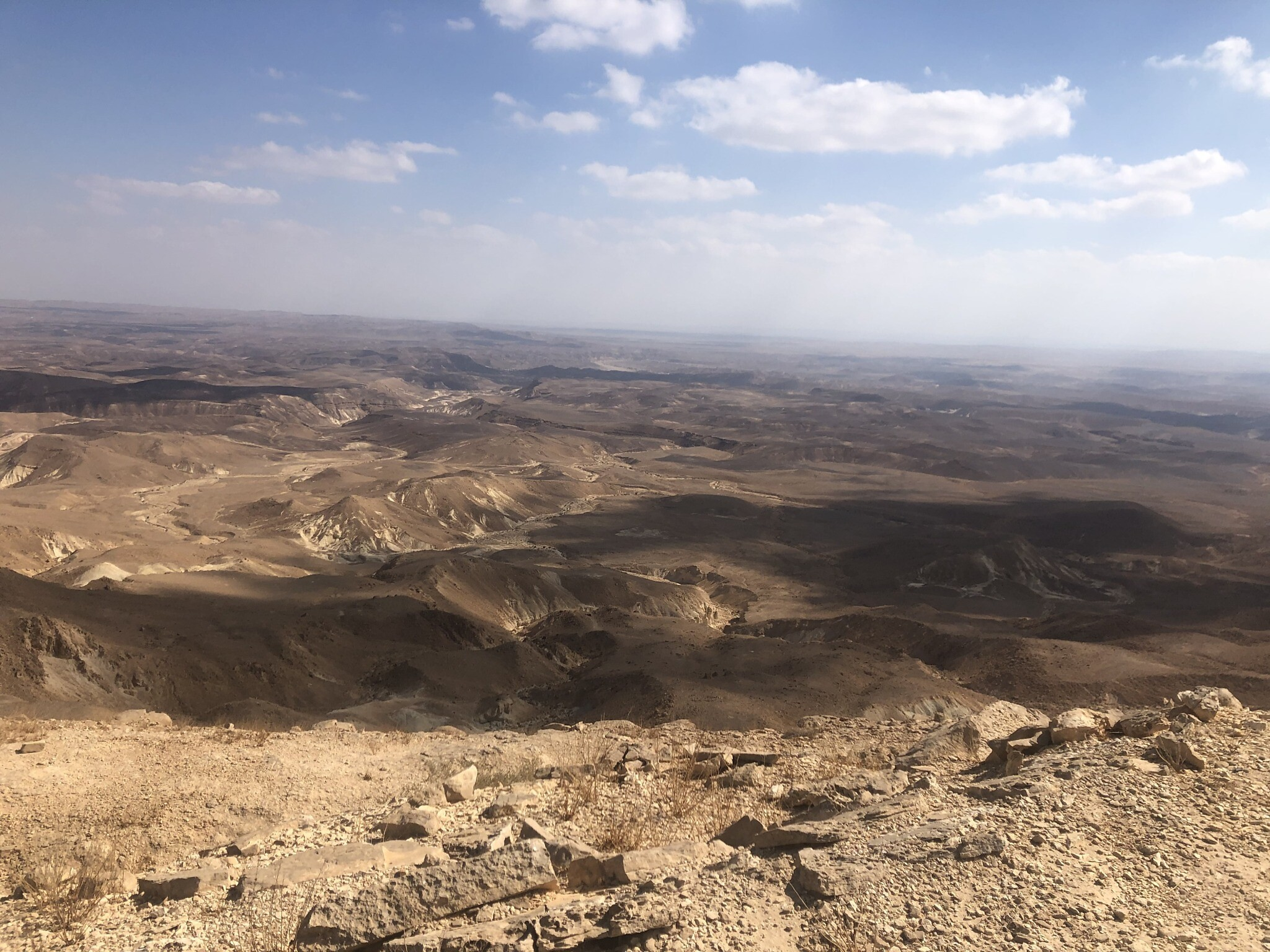 The expanse of desert as seen from Mount Karkom. (Sue Surkes/TimesofIsrael)