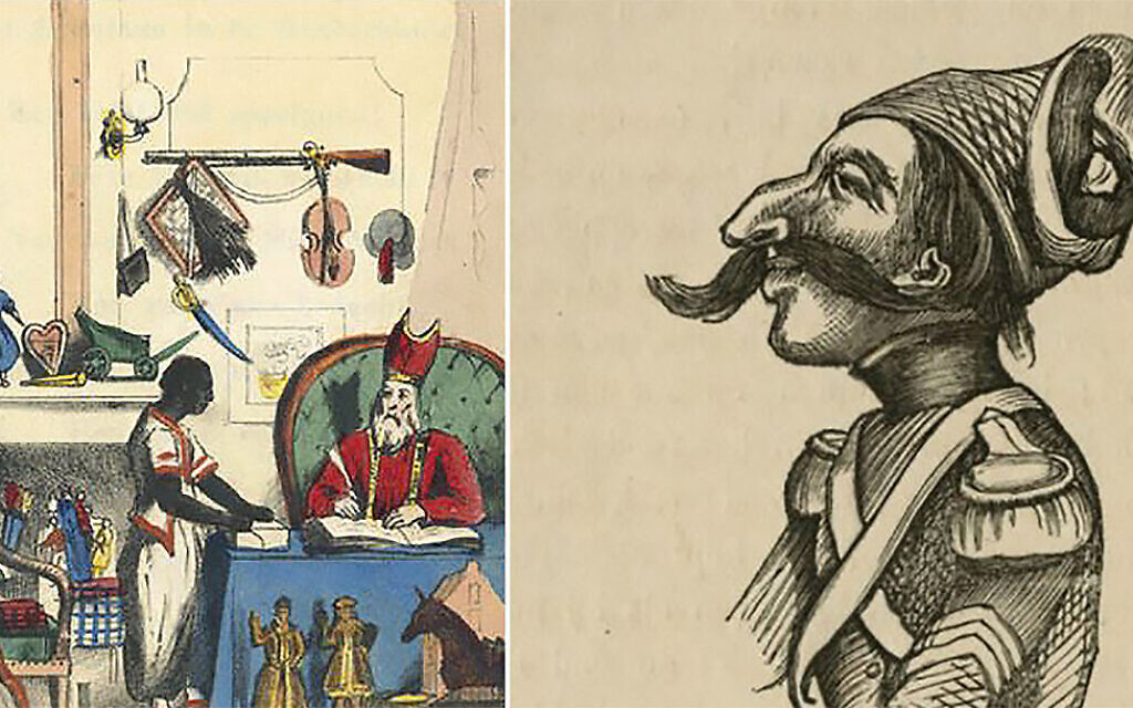 An early depiction of Black Pete, left, by the Dutch author Jan Schenkman in the 1850s, and a caricature of the cowardly Jewish soldier Levie Zadok. (Courtesy of the Amsterdam Jewish Historical Museum/ via JTA)