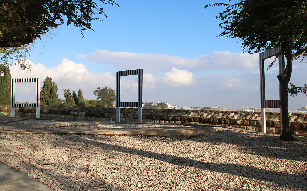 "An environmental sculpture by French artist Daniel Buren on Jerusalem's Mount Zion Promenade. The three large empty frames are called ""Trois points de vue pour un dialogue"" (Three points of view for a dialogue). (Shmuel Bar-Am)"