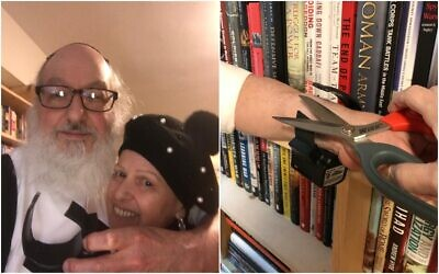 Jonathan Pollard with his wife Esther after they cut off his electronic monitor bracelet on November 20, 2020. (Adi Ginzburg/Justice for Jonathan Pollard)