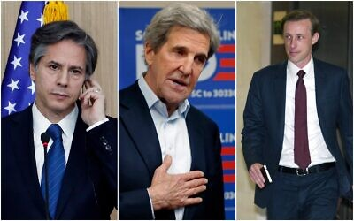(From L-R) Then US deputy secretary of state Antony Blinken in Seoul, South Korea on April 19, 2016, Former secretary of state John Kerry at a campaign office for Democratic presidential candidate Joe Biden, in Rock Hill, SC, on February 19, 2020. Former Hillary Clinton aide, Jake Sullivan, arrives to be interviewed before a House panel on the Benghazi investigation on Capitol Hill in Washington on September 4, 2015. (AP/Lee Jin-man, Gerald Herbert, Cliff Owen)