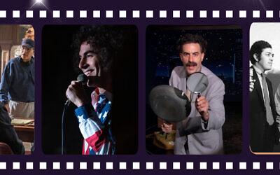 Sacha Baron Cohen as Abbie Hoffman left) in 'Chicago 7' and the title character in 'Borat 2.' courtesy)