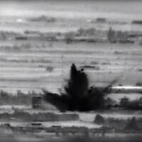 Footage of Israeli strikes on Iranian and Syrian targets in southern Syria following an attempted explosive attack by Iranian-backed operatives against Israeli troops on the Golan Heights, November 18, 2020 (Israel Defense Forces)