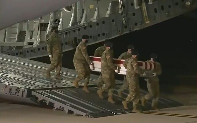 The remains of US soldiers killed in a helicopter crash on a Sinai peacekeeping mission arrive back in the United States, November 17, 2020 (Screen grab)