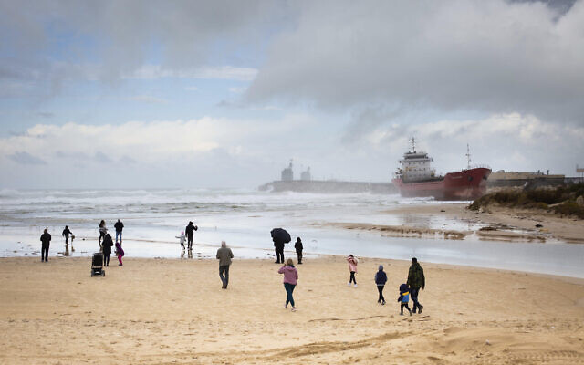 Eric Sultan's photo of a ship caught in a storm on the Ashdod coast, part of the 'Local Testimony' photo exhibit, opening December 24, 2020 in Tel Aviv (Courtesy 'Local Testimony')