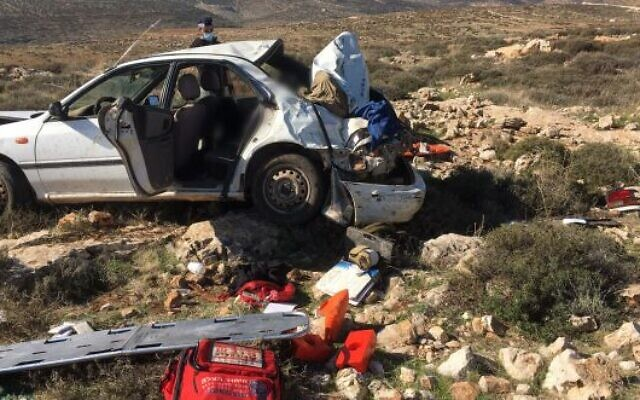 A vehicle belonging to hilltop youth that crashed while under police pursuit in the northern West Bank on December 21, 2020. (United Hatzalah)