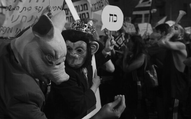 Raanan Cohen's photo of protestors outside the prime minister's home in Jerusalem in July 2020, part of the 'Local Testimony' photo exhibit, opening December 24, 2020 in Tel Aviv (Courtesy 'Local Testimony')
