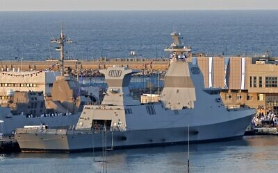 The German-made Saar 6-class corvette purchased by the Israel Navy is moored at the military port of Haifa, after its arrival on December 2, 2020. (Jack Guez/AFP)