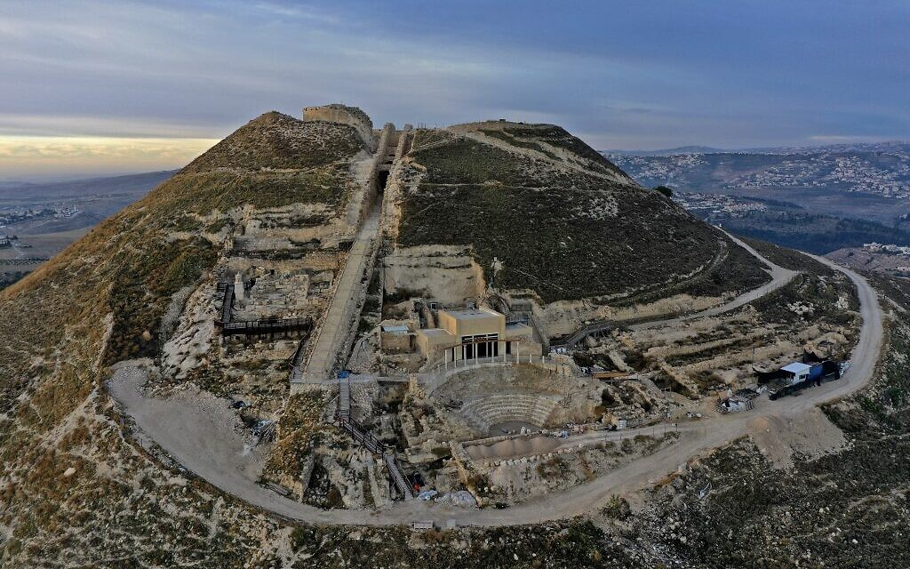 This picture taken on November 24, 2020 shows an aerial view of the Herodium fortress, with the King Herod's tomb site and the theatre built by Herod the Great between 23-15 BCE in the Judaean desert, southeast of Bethlehem (MENAHEM KAHANA / AFP)
