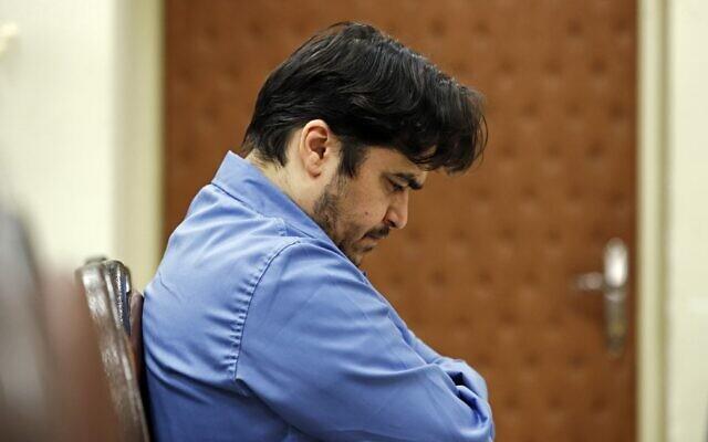 Ruhollah Zam during his trial at Iran's Revolutionary Court in Tehran, June 30, 2020. (Ali Shirband/Mizan News Agency/AFP)