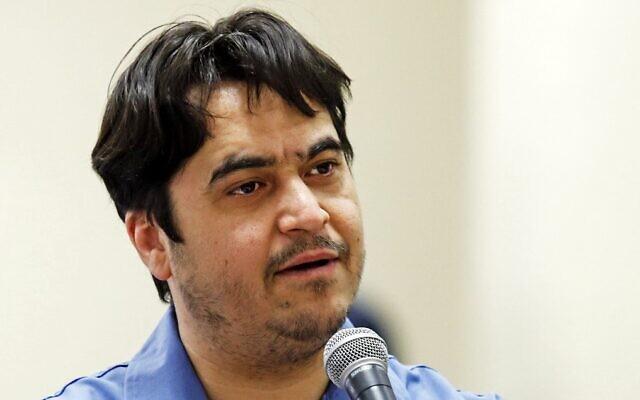 Ruhollah Zam speaks during his trial at Iran's Revolutionary Court in Tehran, June 30, 2020. (Ali Shirband/Mizan News Agency/AFP)