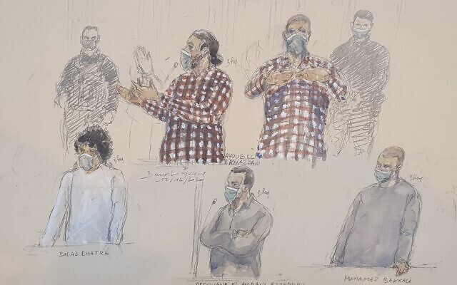 A courtroom sketch made on December 17, 2020, shows the defendants Ayoub El Khazzani (up), (From Down L) Bilal Chatra, Redouane El Amrani Ezzerrifi and Mohamed Bakkali at the Paris Courthouse in Paris. (Benoit Peyrucq/AFP)