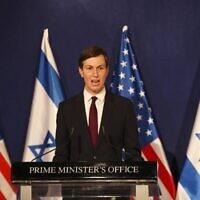 US Presidential Adviser Jared Kushner speaks in Jerusalem on December 21, 2020. (RONEN ZVULUN / AFP)