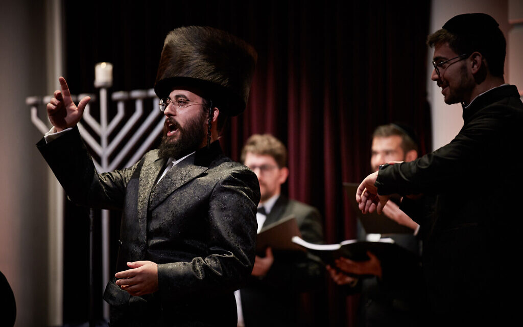 Cantor Israel Nachman performs at the annual Hanukkah event at the Royal Concert Hall in Amsterdam, December 22, 2019. (Eduardus Lee/ via JTA)