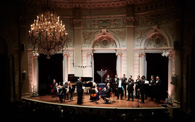 Cantors and musicians perform at the annual Hanukkah event at the Royal Concert Hall in Amsterdam, December 22, 2019. (Eduardus Lee/ via JTA)