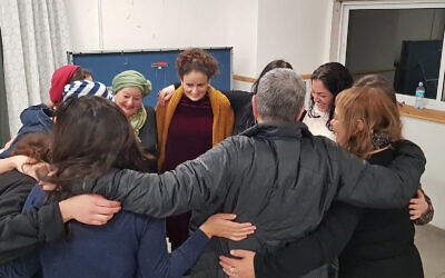 Women celebrate Rosh Chodesh el Banat in Jerusalem, December 2019. (Aliza Lavie/ via JTA)