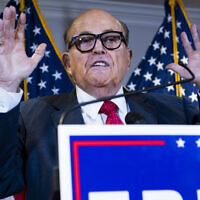 Rudy Giuliani conducts a news conference at the Republican National Committee on lawsuits regarding the outcome of the 2020 presidential election, November 19, 2020. (Tom Williams/CQ-Roll Call, Inc via Getty Images/JTA)