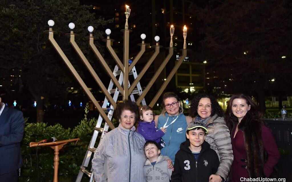 Houston's Chabad chapter lights a large menorah at City Hall every year. (YJP Houston via JTA)
