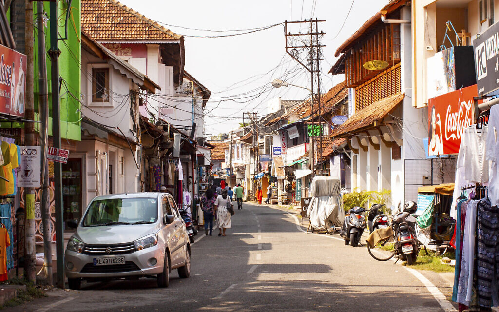 Jew Town signage remains in Kochi. (Christabel Lobo/ via JTA)