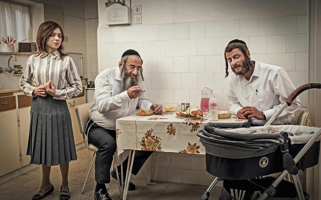 From left: Shira Haas, Doval'e Glickman and Michael Aloni in season 3 of 'Shtisel.' (Ohad Romano/ via JTA)