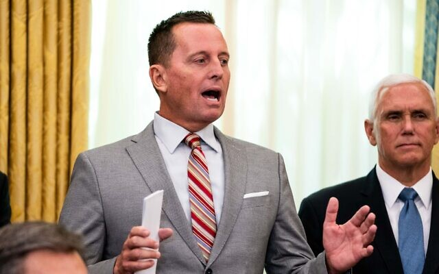 Richard Grenell, former acting director of national intelligence, speaks at a White House ceremony, September 4, 2020. (Anna Moneymaker-Pool/Getty Images/JTA)