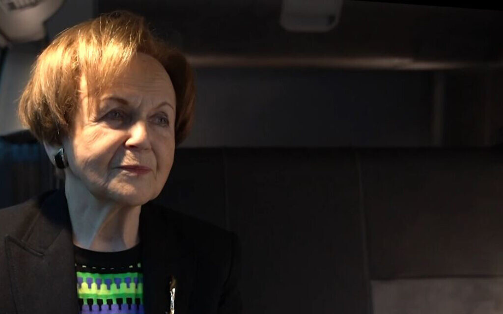 Mala Tribich tells about her survival of the Holocaust inside the Learning from the Righteous mobile studio in London, UK in December 2020. (Learning from the Righteous/ via JTA)