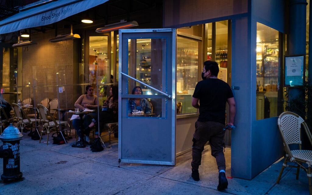 The entrance to Shoo Shoo Nolita, an Israeli-owned restaurant in New York City, December 13, 2020. (Luke Tress/Times of Israel)