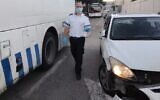 The scene of a suspected hit-and-run by a bus near Rachel's Tomb in Bethlehem, December 2, 2020. (Magen David Adom)