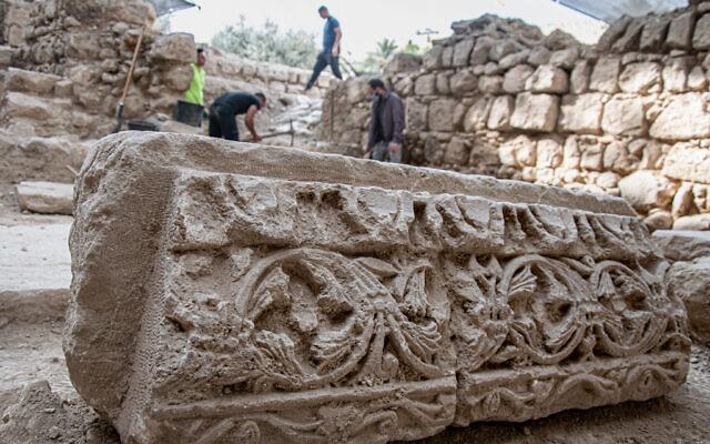Israel Antiquities Authority excavations at the Byzantine church. (Yoli Schwartz/ Israel Antiquities Authority)