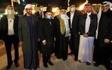 Delegation members from the United Arab Emirates and Bahrain participate in the candle lighting ceremony for the 5th night of Hanukkah at the Western Wall Plaza, December 14, 2020. (The Western Wall Heritage Foundation)