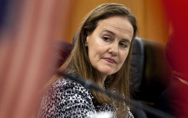 This Dec. 7, 2011 file photo shows former US Defense Undersecretary Michele Flournoy, preparing for a bilateral meeting in Beijing, China (AP Photo/Andy Wong, File)