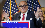 In this Nov. 19, 2020, photo, former New York Mayor Rudy Giuliani, a lawyer for President Donald Trump, speaks during a news conference at the Republican National Committee headquarters, in Washington.  (AP Photo/Jacquelyn Martin, File)