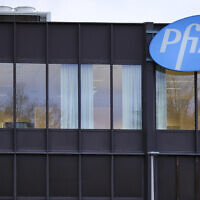 In this December 4, 2020 file photo, a general view of the Pfizer manufacturing plant in Puurs, Belgium. (AP/Olivier Matthys)