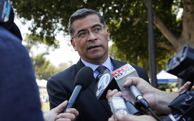 In this August 2, 2018, file photo, California Attorney General Xavier Becerra talks to reporters after a news conference at UCLA. (AP Photo/Jae C. Hong, File)