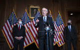 Senate Majority Leader Mitch McConnell of Kentucky, speaks during a news conference following a weekly meeting with the Senate Republican caucus, December 8, 2020 at the Capitol in Washington. (Sarah Silbiger/Pool via AP)
