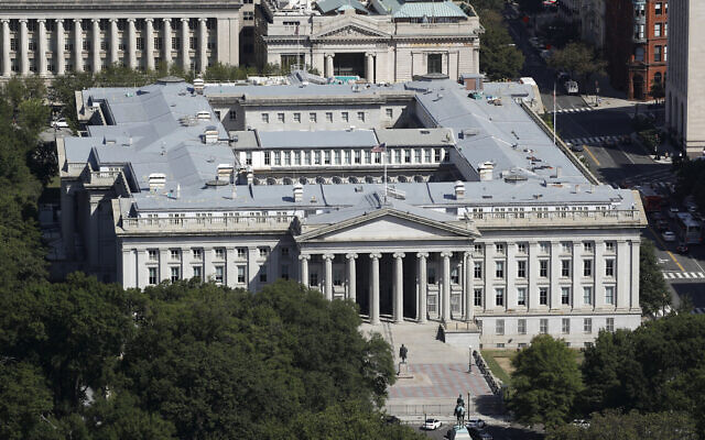 The US Treasury Department building viewed from the Washington Monument, Wednesday, Sept. 18, 2019, in Washington (AP Photo/Patrick Semansky, file)
