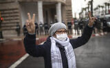 A protester against the normalization deal between Morocco and Israel gestures, in Rabat, Morocco, December 14, 2020. (AP Photo/Mosa'ab Elshamy)