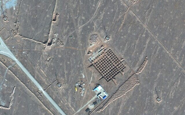 This Dec. 11, 2020, satellite photo by Maxar Technologies shows construction at Iran's Fordo nuclear facility. Iran has begun construction on a site at its underground nuclear facility at Fordo amid tensions with the US over its atomic program (Maxar Technologies via AP)