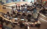 Al-Jazeera staff work at their TV station in Doha, Qatar, June 8, 2017. (AP Photo/ Malak Harb, File)
