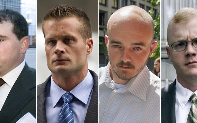 This combination made from file photo shows Blackwater guards, from left, Dustin Heard, Evan Liberty, Nicholas Slatten and Paul Slough. On Tuesday, Dec. 22, 2020, President Donald Trump pardoned 15 people, including Heard, Liberty, Slatten and Slough, the four former government contractors convicted in a 2007 massacre in Baghdad that left more a dozen Iraqi civilians dead and caused an international uproar over the use of private security guards in a war zone. (AP Photo/File)