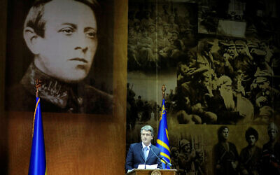 Illustrative: Former Ukrainian president Victor Yushchenko speaks during official meeting marking the 130th anniversary of Symon Petlyura's birth, Kiev, Wednesday, May 27, 2009, with Petlyura's, left, and members of his army photos in the background. In 1921 after Ukraine finally fell under Soviet authority Petlyura moved to Paris, where in 1926 he was fatally shot in revenge for the deaths of Jews during pogroms staged by members of his army. (AP Photo/Presidential Press Service, Mykola Lazarenko, Pool)
