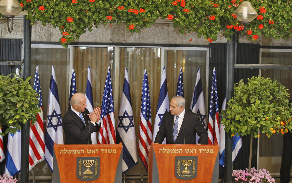 Vice President Joe Biden, left, and Prime Minister Benjamin Netanyahu during a joint press conference at the Prime Minister's residence in Jerusalem, Tuesday, March 9, 2010. (AP/Ariel Schalit)