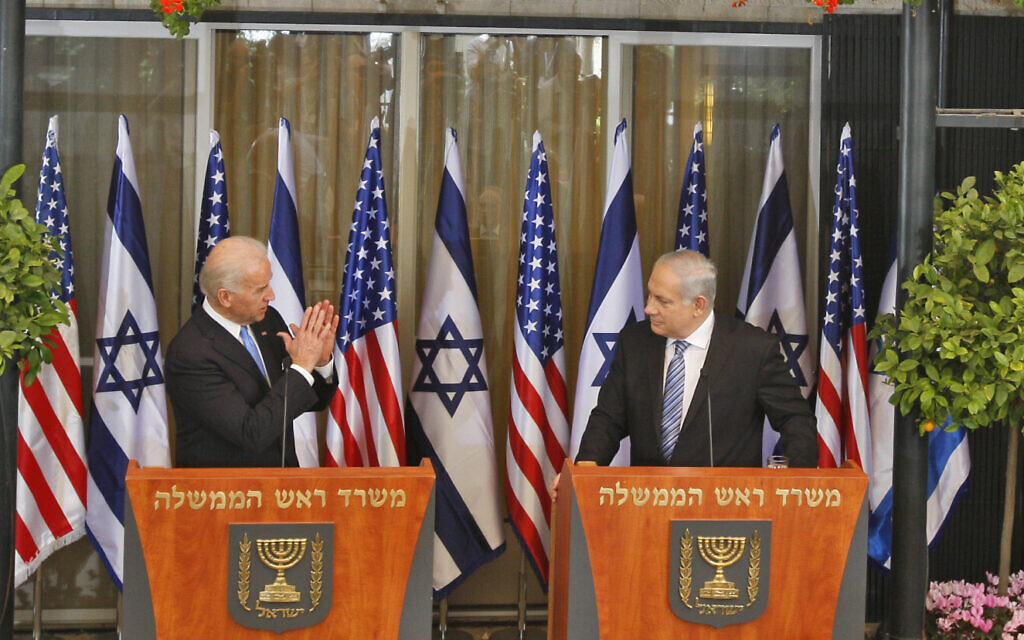 Then-US vice president Joe Biden, left, and Prime Minister Benjamin Netanyahu during a joint press conference at the Prime Minister's residence in Jerusalem, March 9, 2010. (AP/Ariel Schalit)
