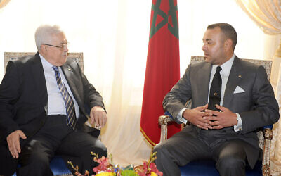 In this photo released Thursday Sept.23, 2010 by the Royal Palace, Morocco's King Mohammed VI, right, meets with Palestinian Authority President Mahmoud Abbas, left, Wednesday Sept. 22, 2010 in New York, during the the Millennium Development Goals at UN headquarters. (AP/Royal Palace/HO/Maroccan Royal Palace)