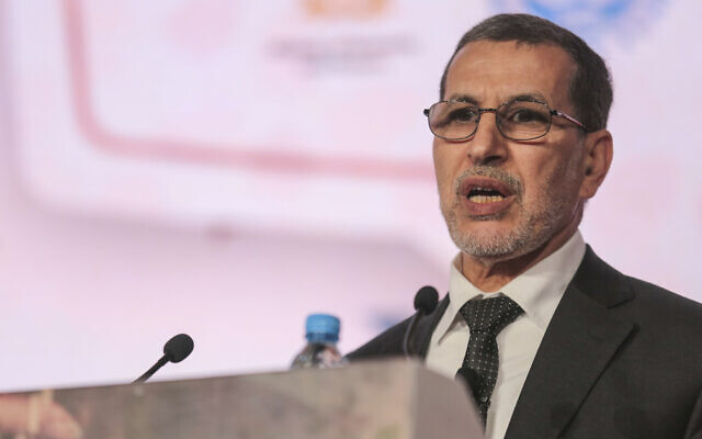 Moroccan Prime Minister Saad-Eddine El Othmani delivers a speech during the opening session of the Opportunities For All economic conference in Marrakech, Morocco, January 30, 2018. (AP Photo/Mosa'ab Elshamy)